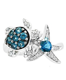 EFFY® Blue Topaz (1 ct.t.w.) and Diamond Accent Ring in Sterling Silver