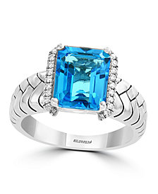EFFY® Blue Topaz (4 ct. t.w.) and Diamond (1/10 ct. t.w.) Ring in Sterling Silver