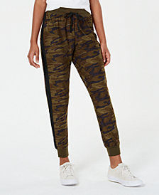 Planet Gold Juniors' Printed Side-Stripe Jogger Pants