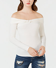 GUESS Off-The-Shoulder Twist-Front Top