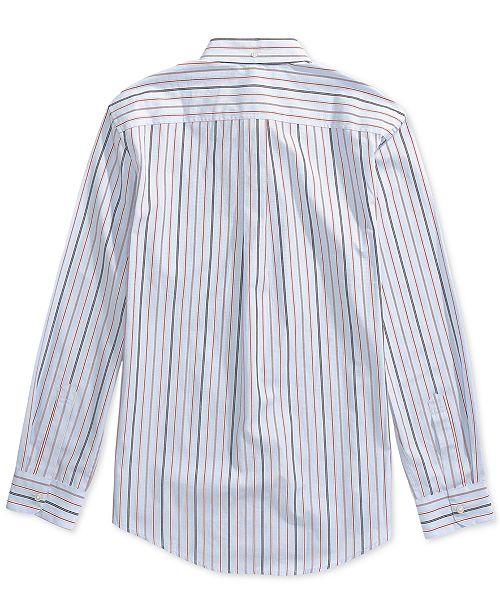 Tommy Hilfiger Men's Stripe Custom Fit Shirt with Magnetic