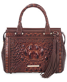 Brahmin Schooner Ross Embossed Leather Satchel