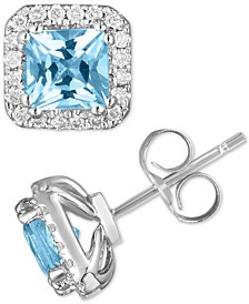 Aquamarine (1 ct. t.w.) & Diamond (1/5 ct. t.w.) Stud Earrings in 14k White Gold (Also Available in Citrine)