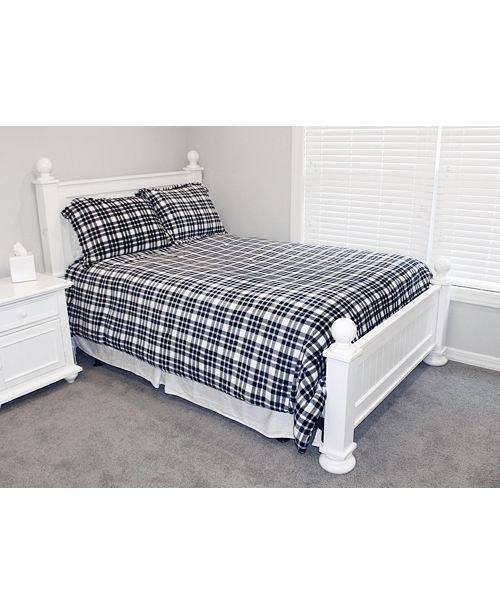 THRO Classic Plaid Fleece 3 Piece Full/Queen Comforter Set