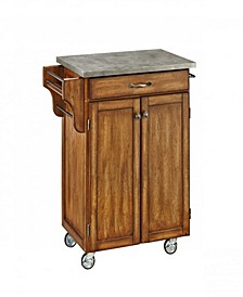 Oak Cuisine Cart with Concrete Top