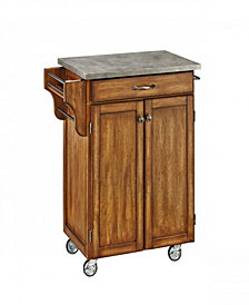 Home Styles Oak Cuisine Cart with Concrete Top