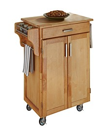 Cuisine Cart Natural Finish with Natural Wood Top