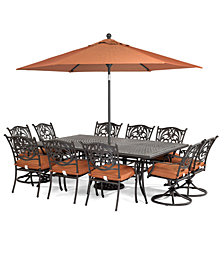 "Chateau Outdoor Cast Aluminum 11-Pc. Dining Set (84"" x 60"" Dining Table, 6 Dining Chairs and 4 Swivel Rockers), Created for Macy's"