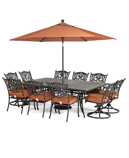 Furniture Cau Outdoor Cast Aluminum 11 Pc Dining Set 84 X 60