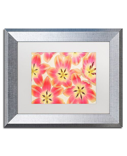 "Trademark Global Cora Niele 'Yellow and Coral Red Tulips' Matted Framed Art, 11"" x 14"""