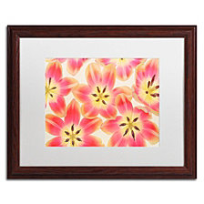 Cora Niele 'Yellow and Coral Red Tulips' Matted Framed Art