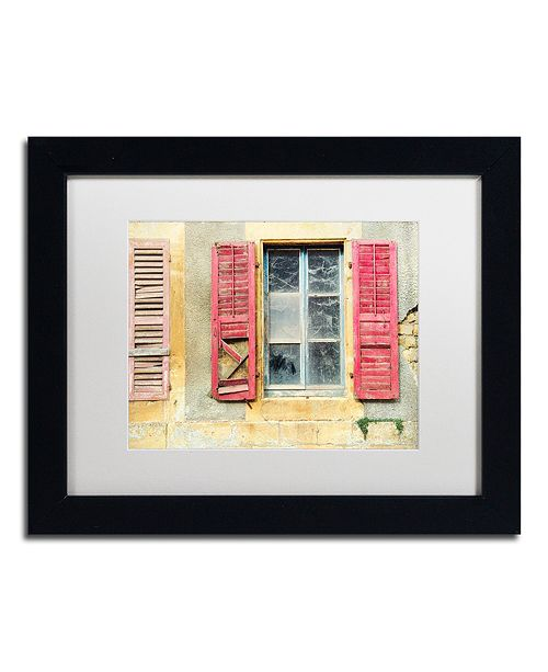 "Trademark Global Cora Niele 'Red Shutters' Matted Framed Art, 11"" x 14"""