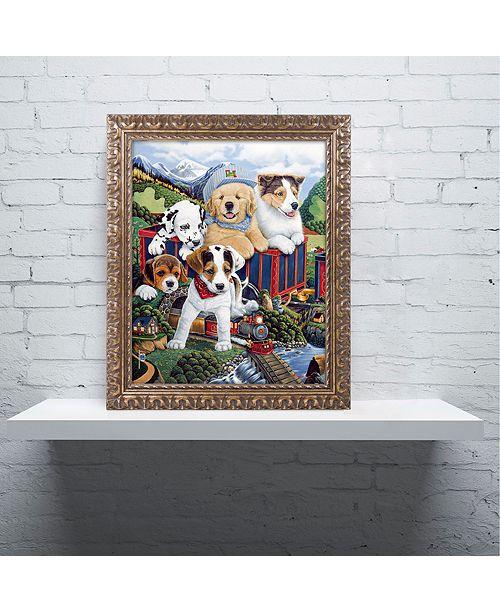 "Trademark Global Jenny Newland 'Choo Choo Puppies' Ornate Framed Art, 11"" x 14"""