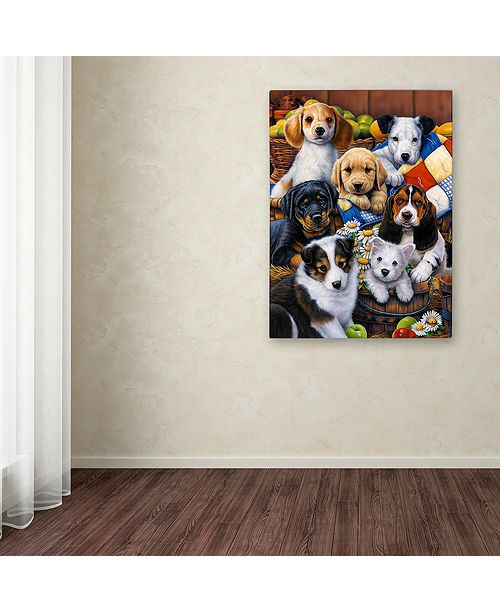 "Trademark Global Jenny Newland 'Country Bumpkin Puppies' Canvas Art, 14"" x 19"""