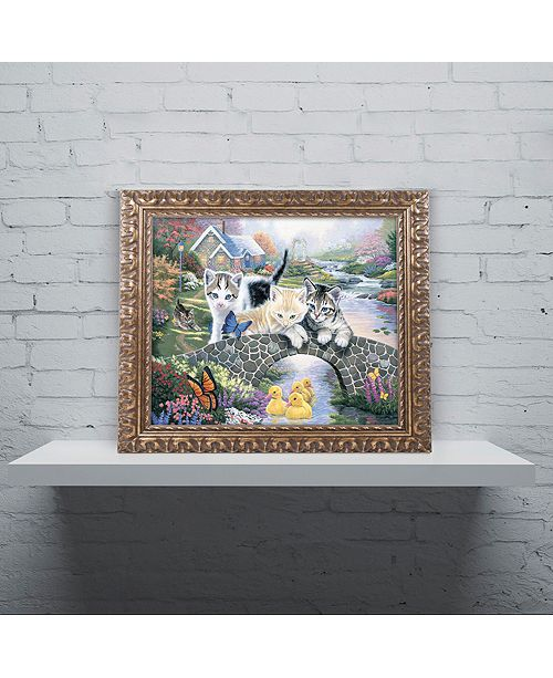 "Trademark Global Jenny Newland 'A Purrfect Day' Ornate Framed Art, 16"" x 20"""