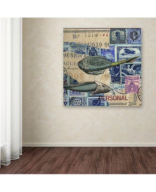 "Trademark Global Nick Bantock 'Cap Cream Blue' Canvas Art, 18"" x 18"""