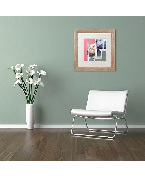 "Trademark Global Nick Bantock 'Man Down' Matted Framed Art, 16"" x 16"""