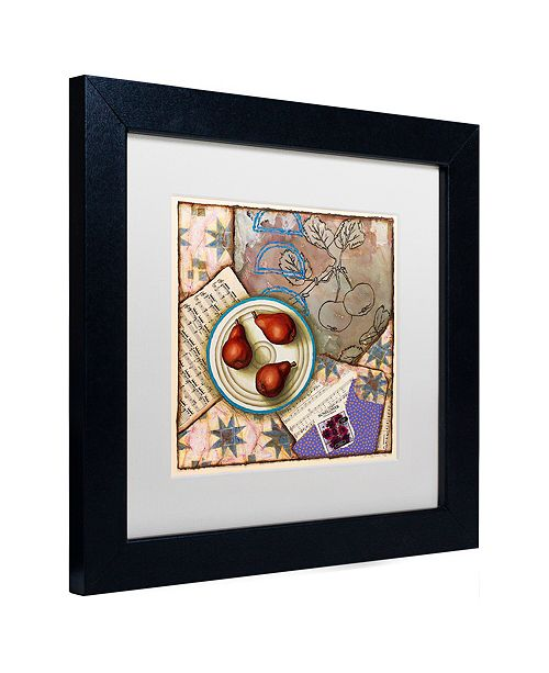 "Trademark Global Rachel Paxton 'Red Pears and Music' Matted Framed Art, 11"" x 11"""