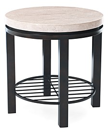 Tempo Travertine Top Round End Table
