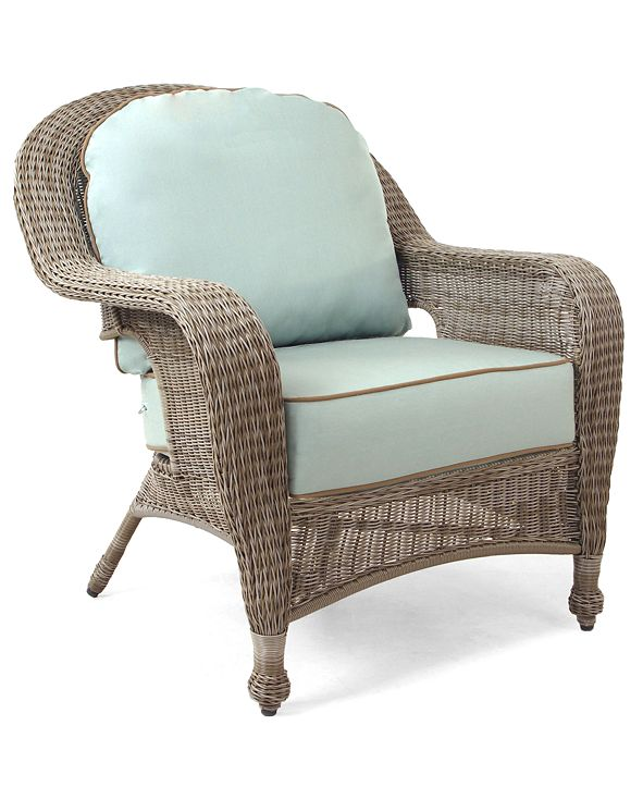 Furniture Sandy Cove Wicker Outdoor Club Chair, with Sunbrella® Cushion, Created for Macy's