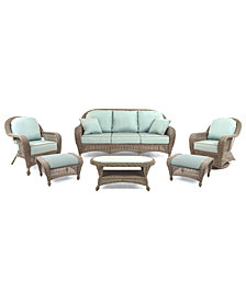 Sandy Cove Outdoor Wicker 6-Pc. Seating Set (1 Sofa, 1 Club Chair, 1 Swivel Glider, 2 Ottomans and 1 Coffee Table), Created for Macy's