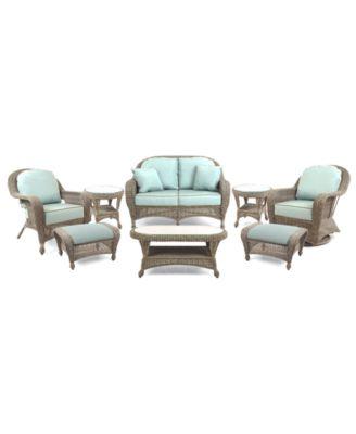 Sandy Cove Outdoor Wicker 8-Pc. Seating Set (1 Loveseat, 1 Club Chair, 1 Swivel Glider, 2 Ottomans, 1 Coffee Table and 2 End Tables), Created for Macy's