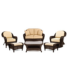 Monterey Outdoor Wicker 6-Pc. Seating Set with Sunbrella® Cushions  (1 Loveseat, 1 Club Chair, 1 Swivel Glider, 2 Ottomans and 1 Coffee Table), Created for Macy's