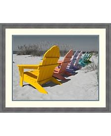 Amanti Art Colorful Beach Chairs Framed Art Print