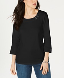 Karen Scott Cotton Grommet Lace-Up Top, Created by Macy's