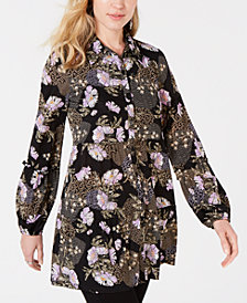 Style & Co Button-Down Printed Peplum Top, Created for Macy's