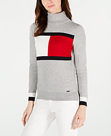 Tommy Hilfiger Cotton Flag Turtleneck Sweater, Created for Macy's