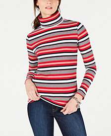 Tommy Hilfiger Striped Turtleneck Top, Created for Macy's