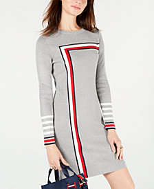 Tommy Hilfiger Racing Stripe Sweater Dress, Created for Macy's