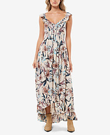 O'Neill Juniors' Cleo Ruffled Floral-Print Maxi Dress