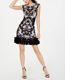 Donna Ricco Printed Dramatic-Ruffle-Hem Dress