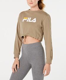 Fila Snap-Sleeve Logo Cropped Sweatshirt