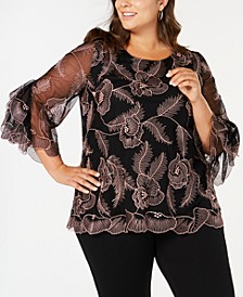 Plus Size Embroidered Statement-Sleeve Top, Created for Macy's