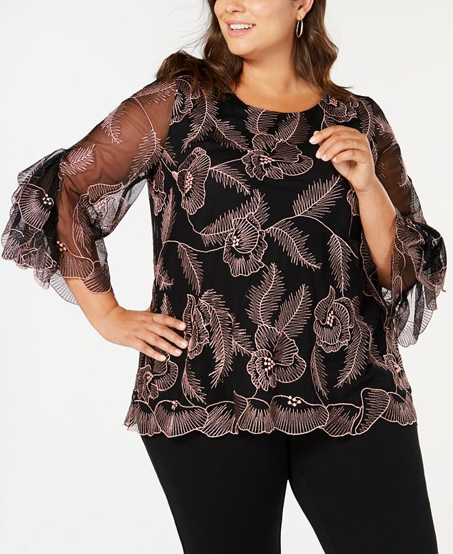 Alfani Plus Size Embroidered Statement-Sleeve Top, Created for Macy's