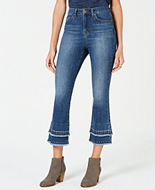 Style & Co Petite Studded & Layered Cropped Jeans, Created for Macy's