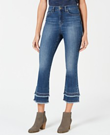 Style & Co Petite Studded & Layered Capri Jeans, Created for Macy's