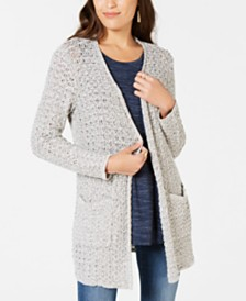 Style & Co Open-Front Mixed-Stitch Cardigan, Created for Macy's