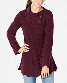 Style & Co Petites Scallop-Edge Sweater, Created for Macy's