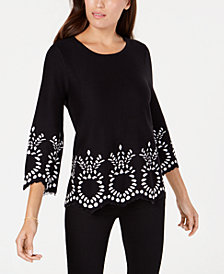 Alfani Embroidered-Trim Top, Created for Macy's