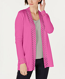 Charter Club Lattice-Trim Open-Front Cardigan, Created for Macy's