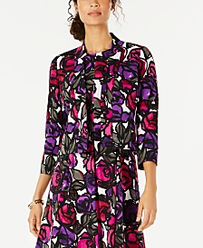 Kasper Printed Open-Front Jacket