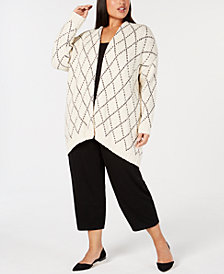 Eileen Fisher Plus Size Organic Cotton Diamond-Print Cardigan