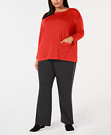 Eileen Fisher Plus Size Tencel Stretch Jersey Pocket Tunic