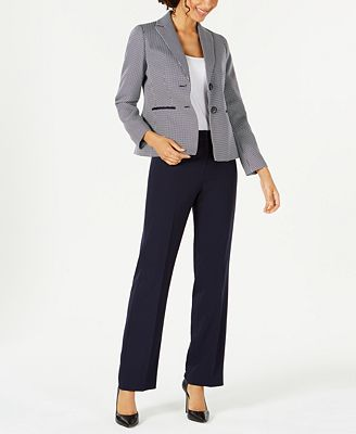 Le Suit Two Button Printed Jacket Pantsuit Wear To Work Women