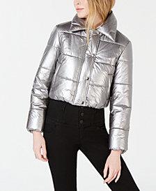 Bar III Cropped Metallic Puffer Jacket, Created for Macy's