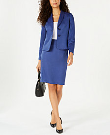 Le Suit Printed Two-Button Skirt Suit